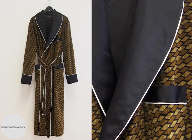 Mens Dressing Gown Olive Khaki Green Brown Dark Gold Black Velvet Silk Long Dapper Gentleman Tailored Robe Striped 70s Piped Lapel Lined