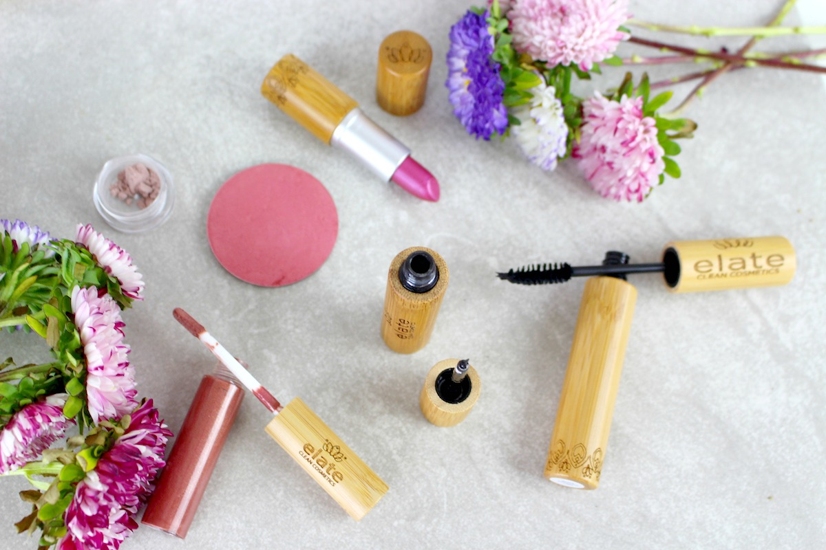 This is a flatlay shot of the Elate Clean Cosmetics beauty products.