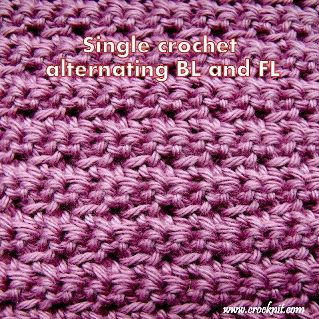 how to crochet single crochet FL and BL, how to crochet, free crochet patterns, washcloths, facecloths,