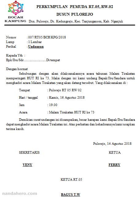 Contoh Surat Undangan Malam Tirakatan 17 Agustus (HUT RI) Simpel