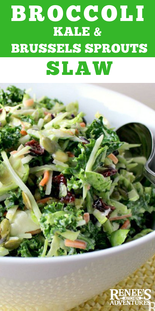 Broccoli, Kale, & Brussels Sprouts Slaw pin for Pinterest