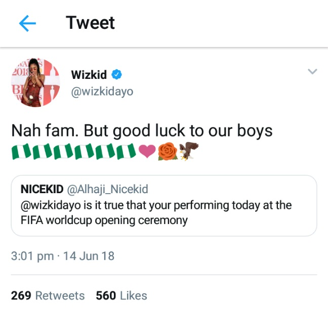 Wizkid Denies Being Billed To Perform At Opening Ceremony Of 2018 World Cup -