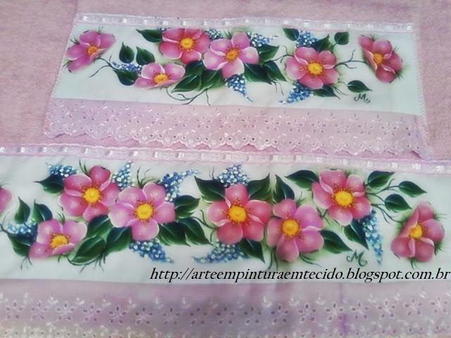 pintura em tecido flores toalha pintada
