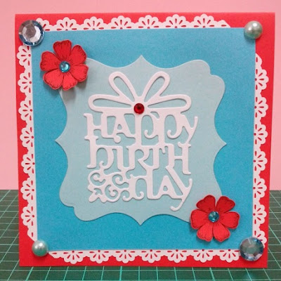 red, white and blue handmade card