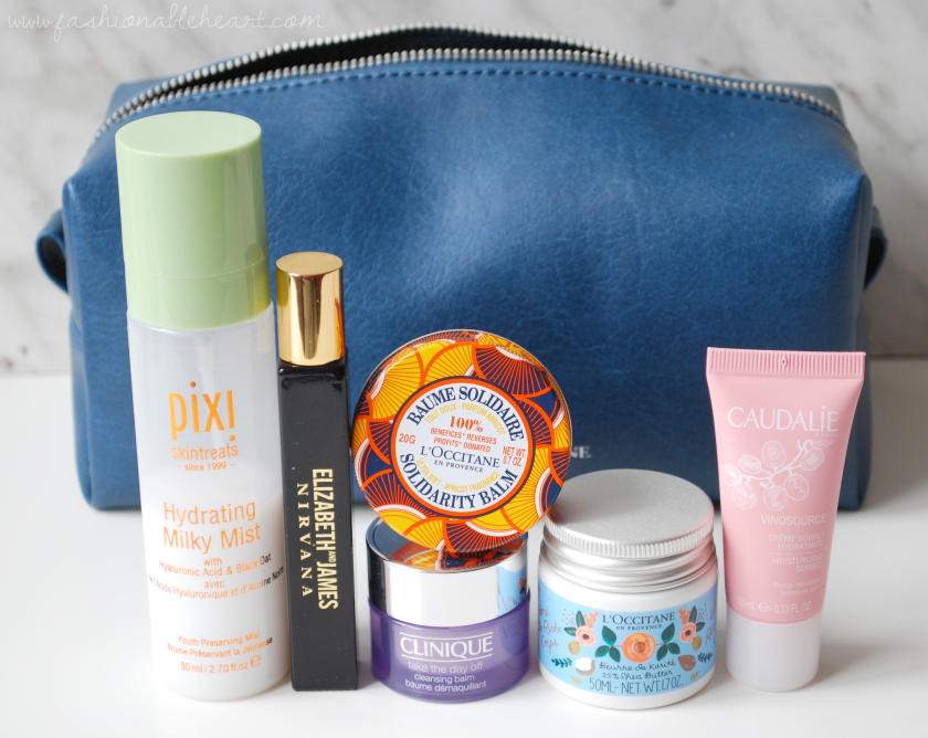 bbloggers, bbloggerca, beauty blog, what i packed, anniversary, trip, vacation, beauty, skincare, makeup, perfume, l'occitane, matt and nat, blair, moonstone, matt & nat, vegan leather, what's in my bag, pixi, hydrating milky mist, elizabeth and james, nirvana black, solidarity balm, 2018, shea butter, ultra rich body cream, clinique, take the day off, cleansing balm, caudalie, vinosource, moisturizer, moisturizing sorbet