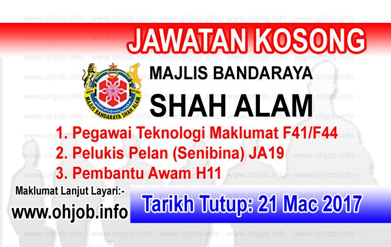 Jawatan Kerja Kosong MBSA - Majlis Bandaraya Shah Alam logo www.ohjob.info mac 2017