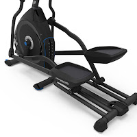 "Articulating cushioned footplates, 20"" Precision Path stride length, dual rail system on Nautilus E616 MY18 Elliptical Trainer"