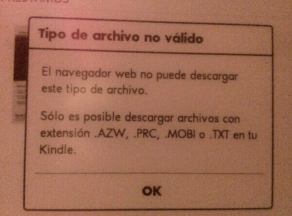 Error al intentar descargar un libro con Kindle desde eBiblio.
