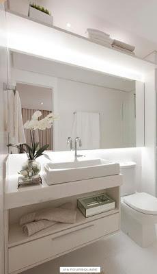idéias para usar fita de led no banheiro