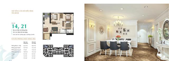 Thiết kế căn 14 - 21 tòa River