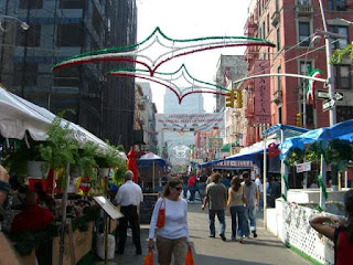 The Festival of San Gennaro is celebrated every year on Mulberry Street in New York's Little Italy