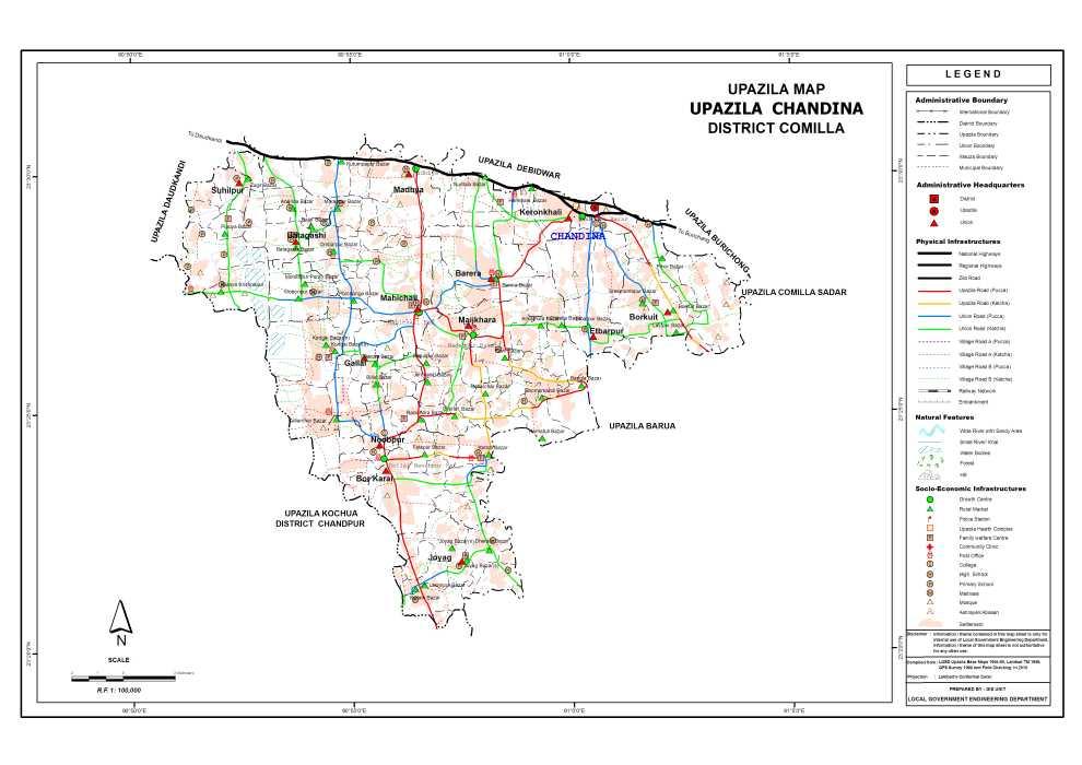 Chandina Upazila Map Comilla District Bangladesh