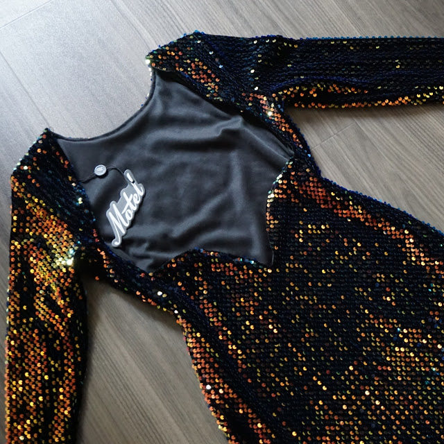 close up of the back of the sequin dress by motel rocks