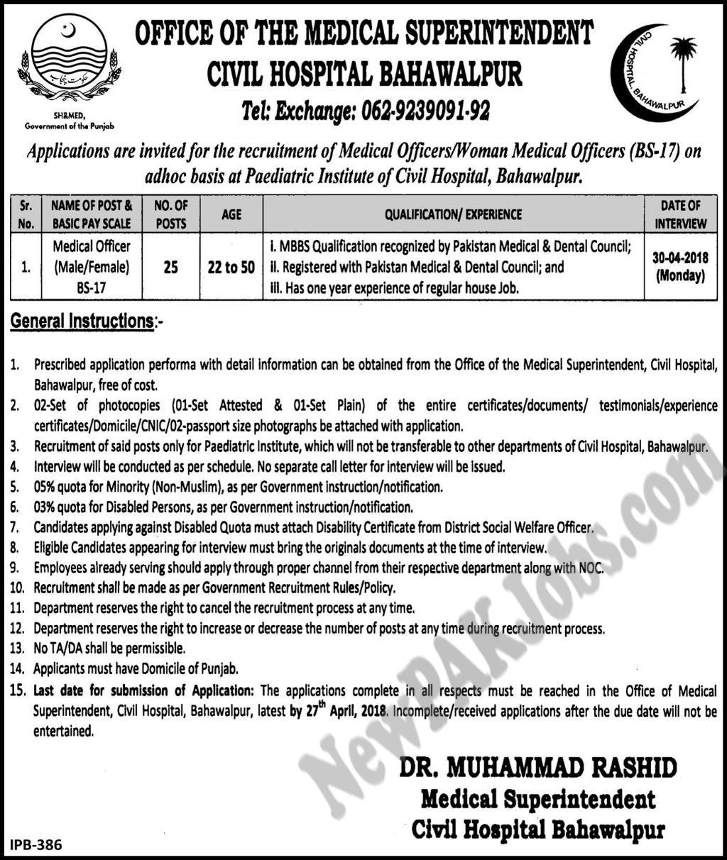Medical Officer Jobs in Civil Hospital Bahawalpur 2018