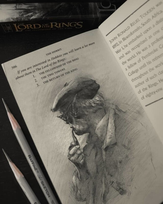 07-Tolkien-Hobbit-John-Fenerov-Charcoal-and-Graphite-Portraits-on-Paper-www-designstack-co