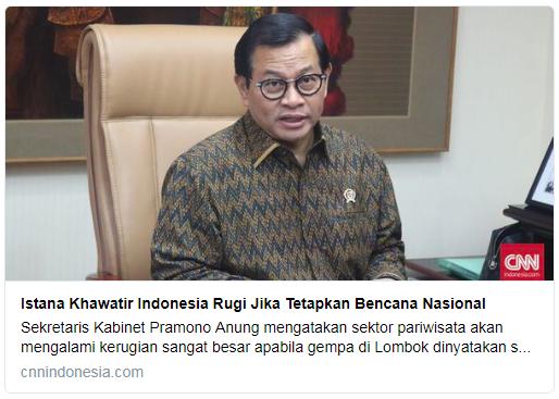 Istana Khawatir Indonesia Rugi Jika Tetapkan Bencana Nasional