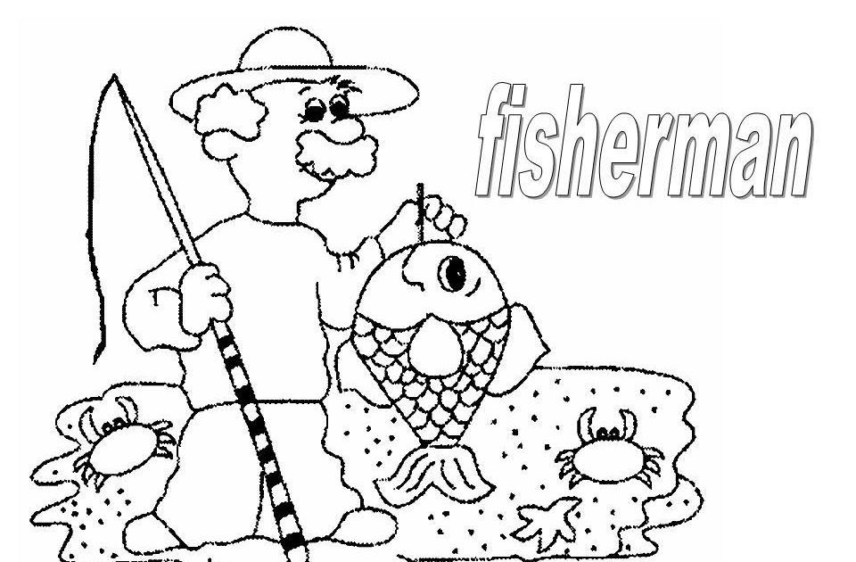 Dibujos Para Colorear Un Pescador: Dibujo De Pescador Para Colorear