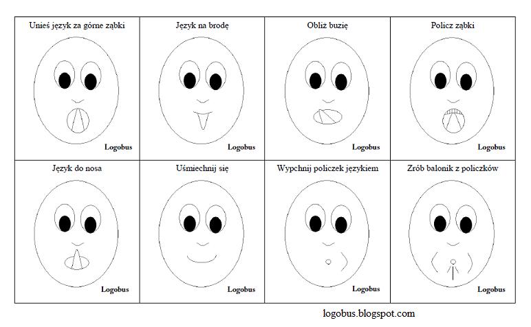 Znalezione obrazy dla zapytania: gimnastyka buzi i języka