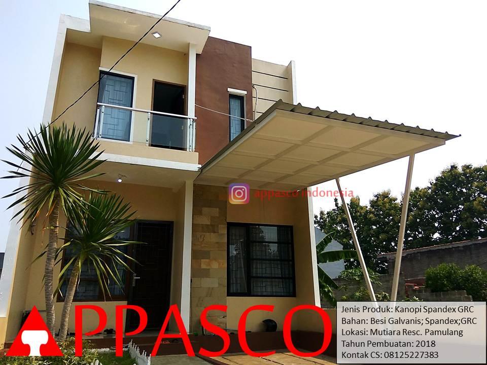Kanopi Minimalis Spandek dengan Peredam GRC di Mutiara Residence Pamulang