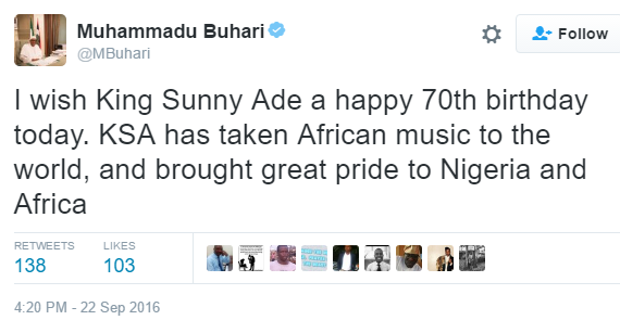President Buhari congratulates veteran musician King Sunny Ade on his 70th Birthday