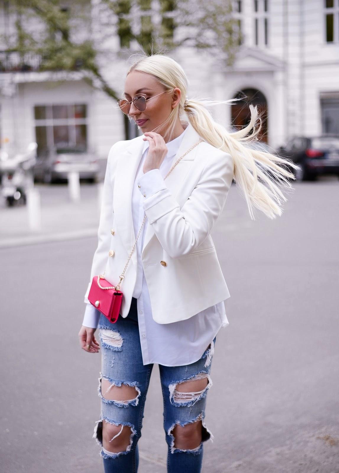balmain inspired blazer_miss selfridge blazer_ripped jeans zara
