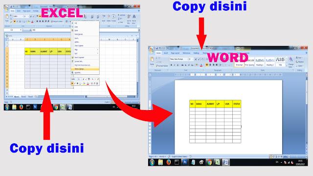 Cara memasukkan tabel excel di word