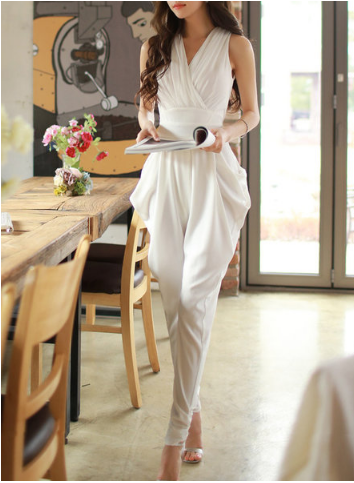 White Gathered Jumpsuit StyleWe - A Glimpse of Glam Andrea Tiffany