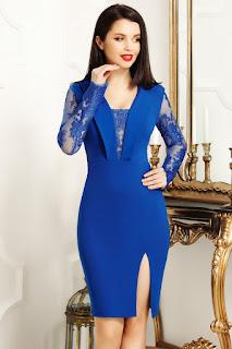 Rochie scurta de ocazii eleganta si ieftina albastra
