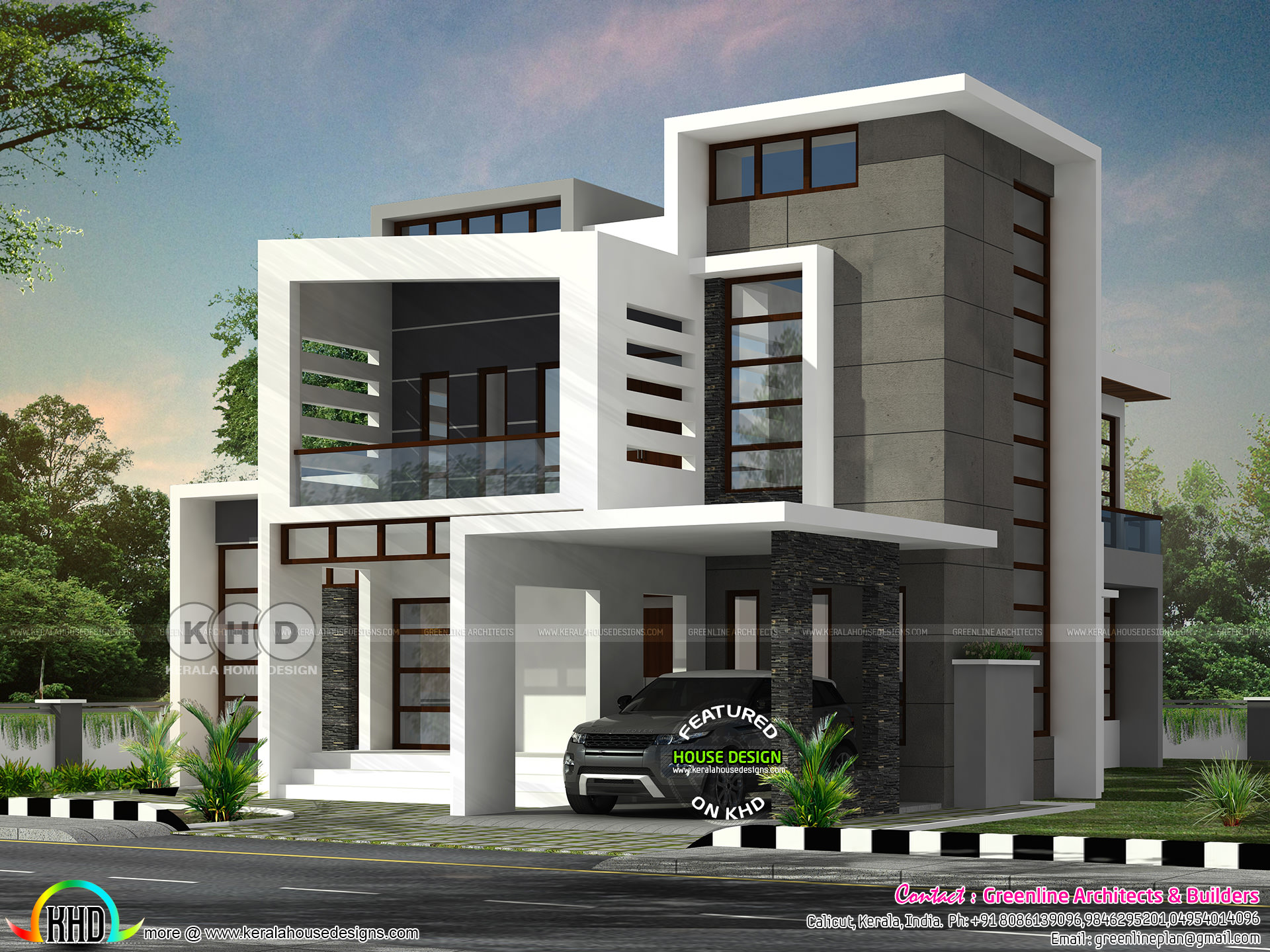 Beautiful box model contemporary residence with 4 bedroom for Modern house details