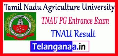 Tamil Nadu Agriculture University PG Entrance Results Counselling Merit List