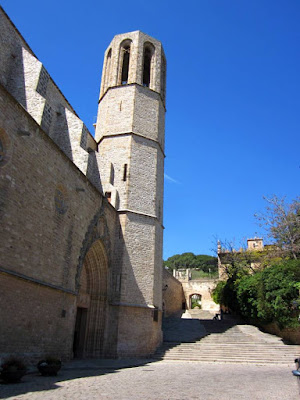 Bell tower and doorway of the church of the Monastery of Pedralbes