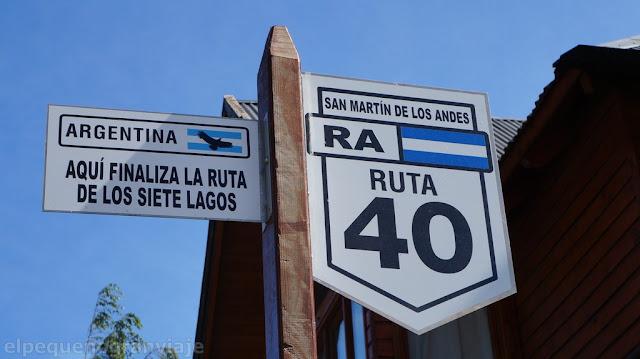 Ruta 40, Ruta siete Lagos, San Martin de los Andes, cartel.
