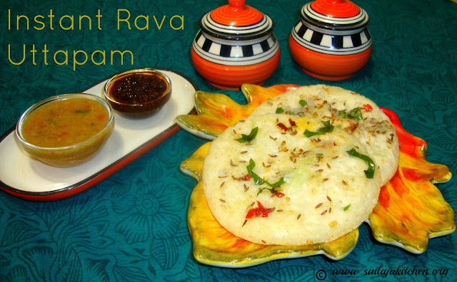 images of Instant Rava Uttapam Recipe / Sooji Uthappam Recipe / Rava Uttapam Recipe / Onion Rava Uttapam Recipe