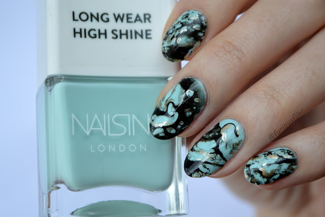 stone jewellery inspired nail art turquoise
