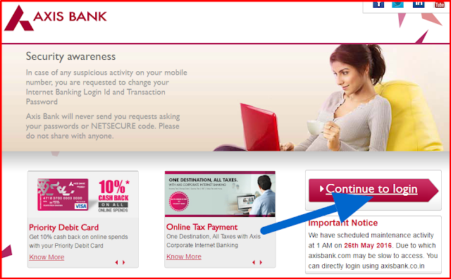 axis internet banking prelogin page