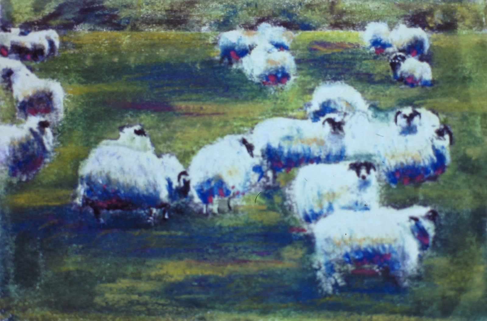 Sheep in a field near Fettercairn, Angus, Scotland  - by F. Lennox Campello 26 x 40 inches, Pastel on paper, c. 1989