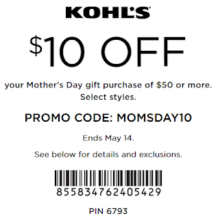Kohls coupon $10 off $50 Mother's Day gift purchase May 14