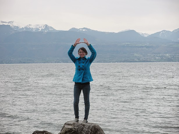 Throwing up the U on Lake Geneva in Lausanne, Switzerland