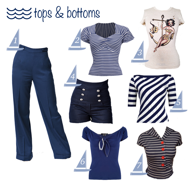 Nautical themed vintage style separates