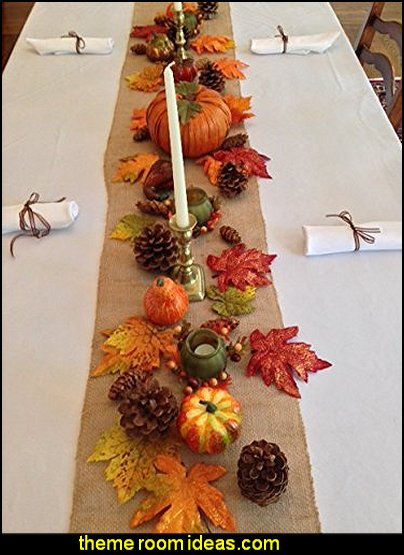 Thanksgiving Tablecloth, napkins and decorative setting in a box, set includes white linens Natural Burlap Runner