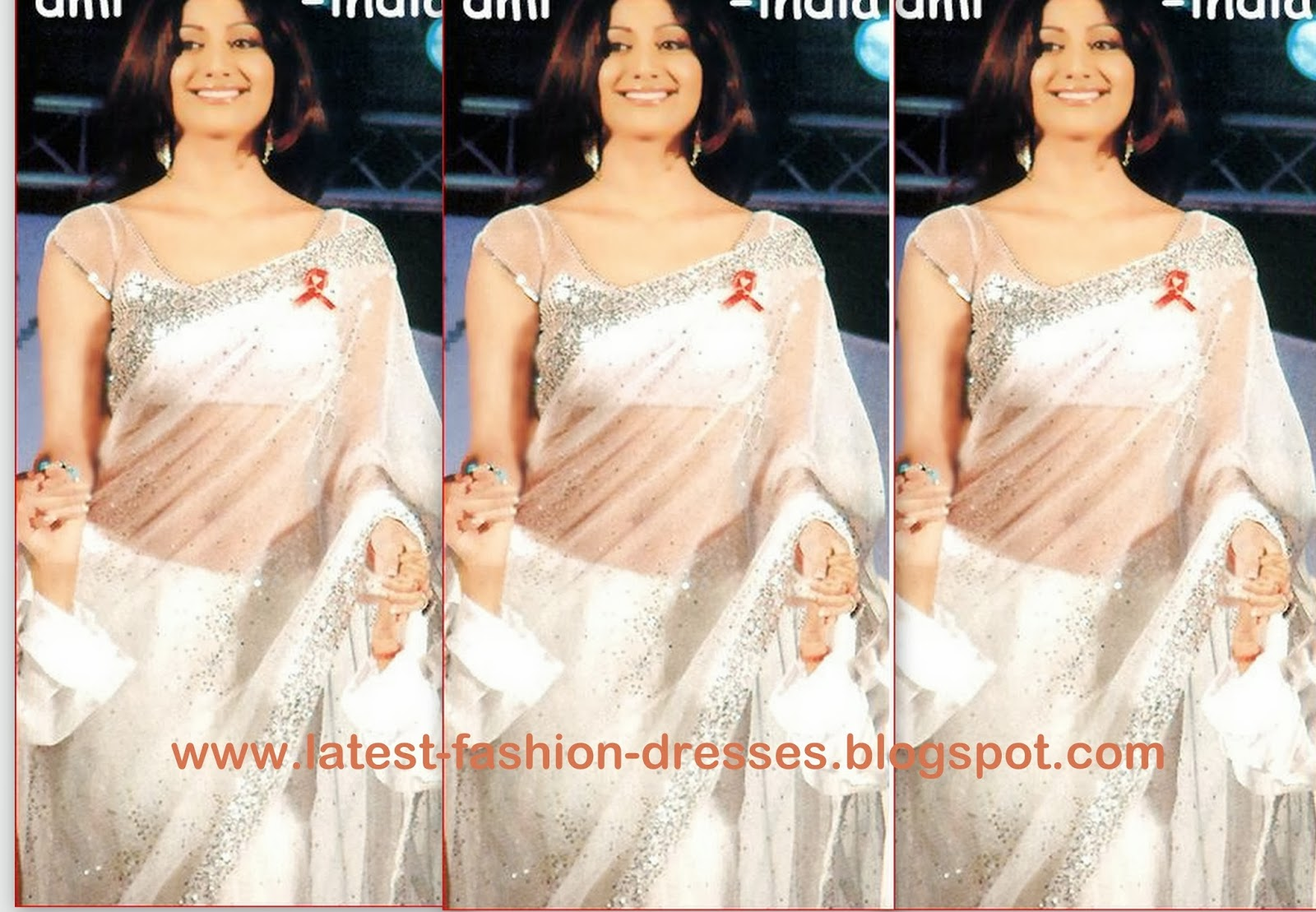 shilpa shety in white colour designer saree