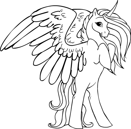 Click to see printable version of Unicornio Alado Coloring page