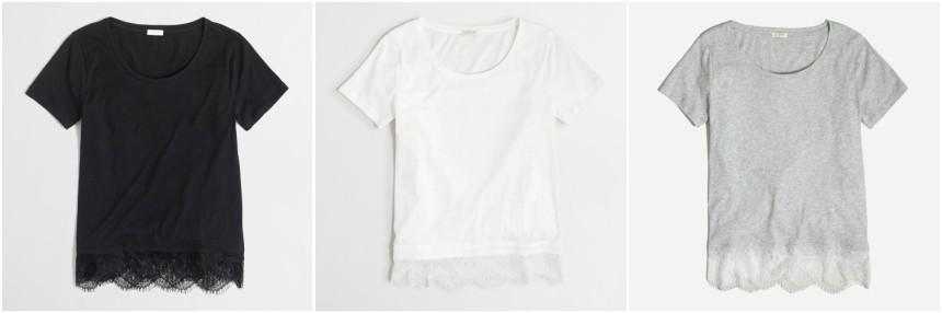 J. Crew Factory Lace-Hem T-Shirt $20 (reg $40)