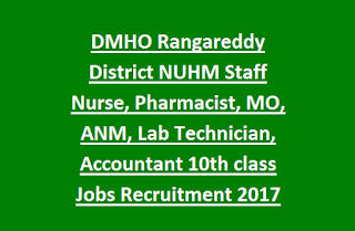 DMHO Rangareddy District NUHM Staff Nurse, Pharmacist, Medical Officer, ANM, Lab Technician, Accountant 10th class Jobs Recruitment 2017