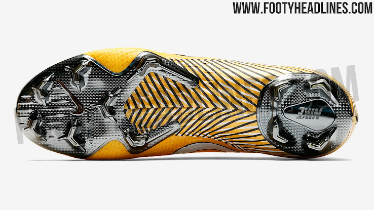 cccd10f01ef Neymar s signature logo features on the tongue part of the Amarillo Nike  Mercurial Vapor 12 Neymar 2018-19 signature football boots