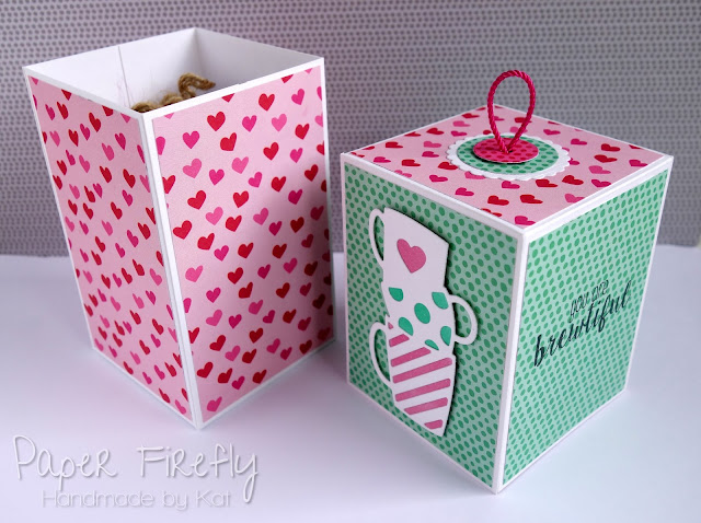 Pair of coffee themed gift boxes in bright colours