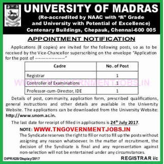 university-of-madras-registrar-controller-of-examination-and-professor-cum-director-ide-vacancy-post-notification-www-tngovernmentjobs-in