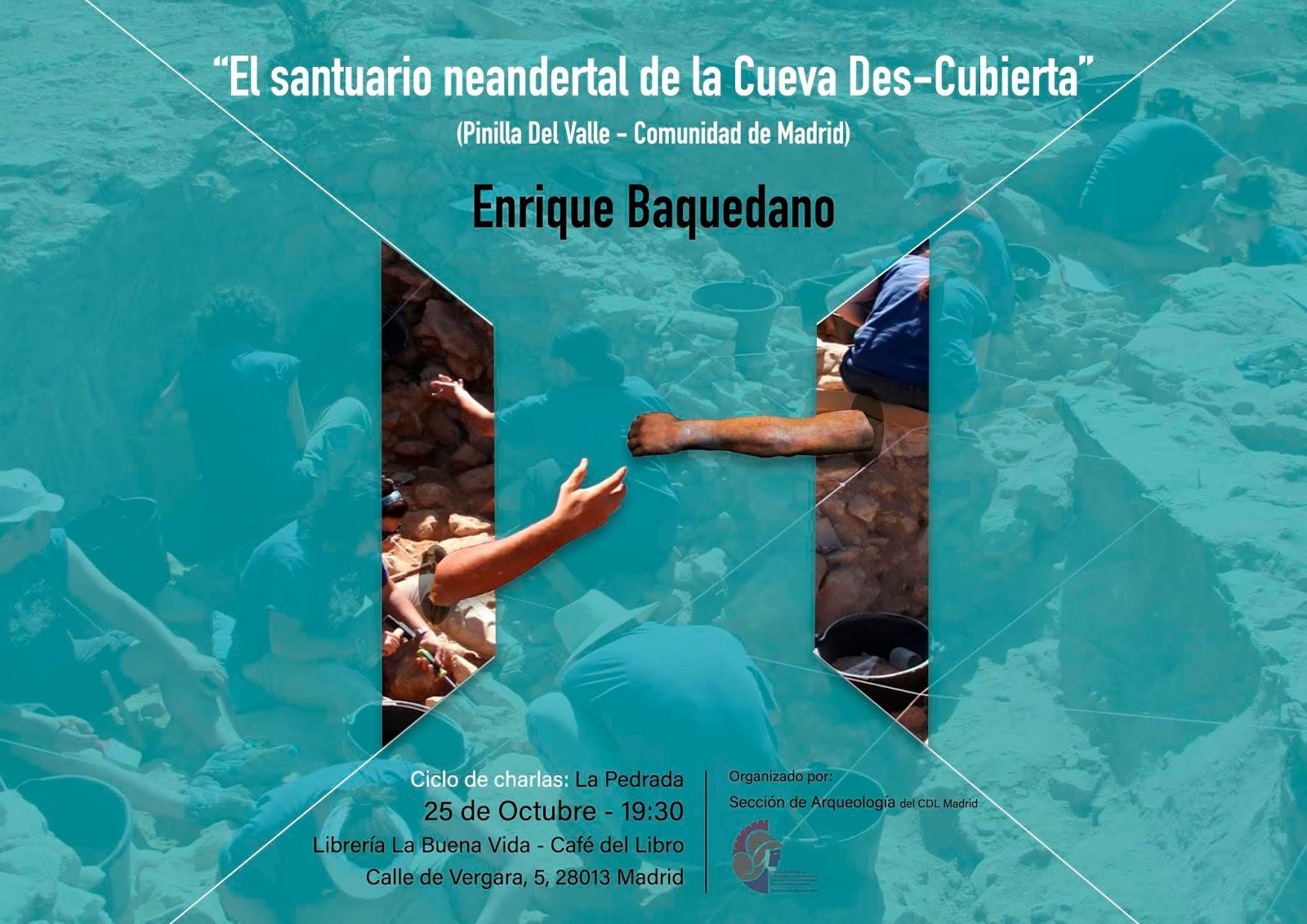Conferencia 'El santuario neandertal de la Cueva Des-Cubierta', a cargo de Enrique Baquedano. Foto: Sección Arqueología CDL Madrid