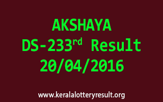 AKSHAYA DS 233 Lottery Result 20-4-2016