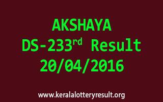 AKSHAYA DS 233 Lottery Result 20-4-2016